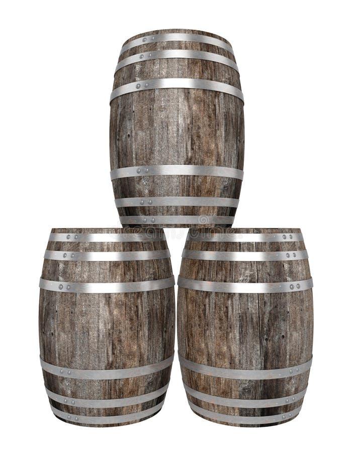 Geef van drie oud donker houten vat terug Witte achtergrond schaduwen Knippende weg vector illustratie