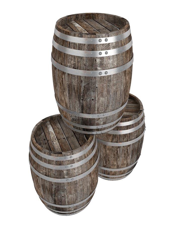 Geef van drie oud donker houten vat terug Witte achtergrond schaduwen Knippende weg stock illustratie