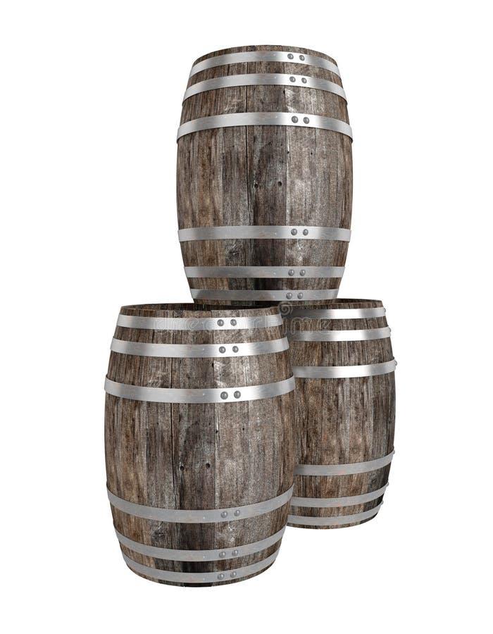 Geef van drie oud donker houten vat terug Witte achtergrond schaduwen Knippende weg royalty-vrije illustratie