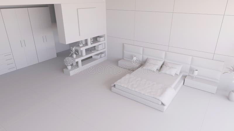 Geef van een 3D slaapkamer terug royalty-vrije illustratie