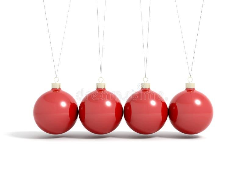 Geef van rode Kerstmisballen terug in slinger vector illustratie