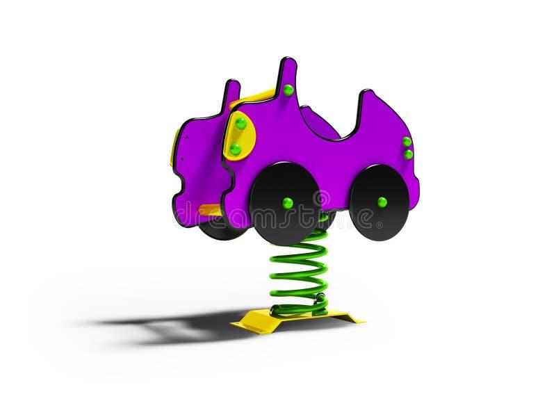 Geeft de carrousel purpere auto op de lente voor 3d jonge geitjes op witte achtergrond met schaduw terug vector illustratie