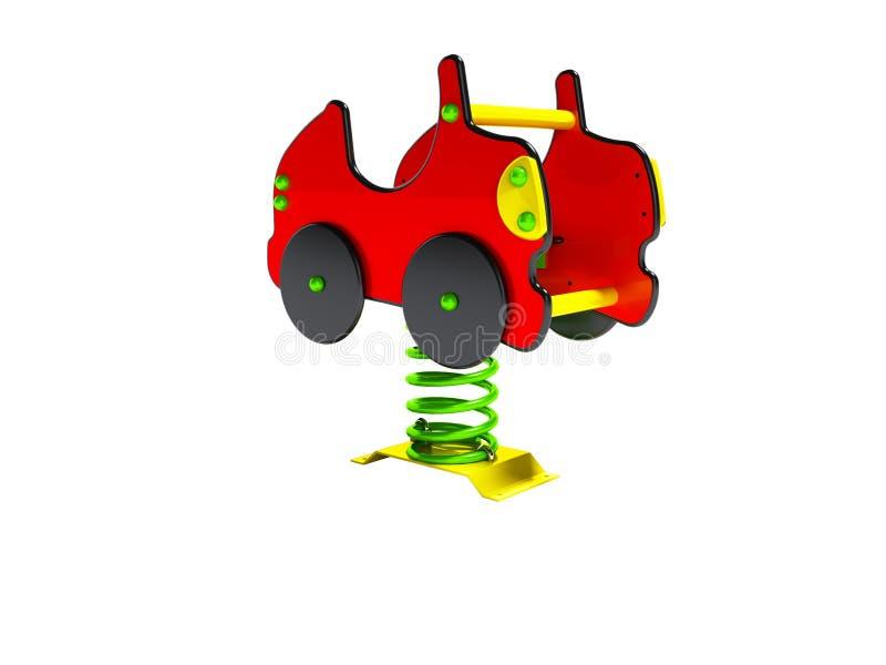 Geeft de carrousel rode auto op de lente voor 3d jonge geitjes vooraanzicht op witte achtergrond geen schaduw terug vector illustratie