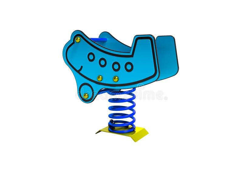 Geeft het carrousel blauwe vliegtuig op de lente voor 3d kinderen op witte achtergrond geen schaduw terug royalty-vrije illustratie