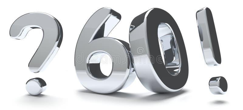 60 geeft het gewaagde symbool geïsoleerde 3d teken van de vraagtekenuitroep terug vector illustratie