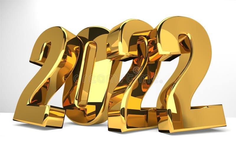 geeft het gouden 3d symbool van 2022 terug vector illustratie