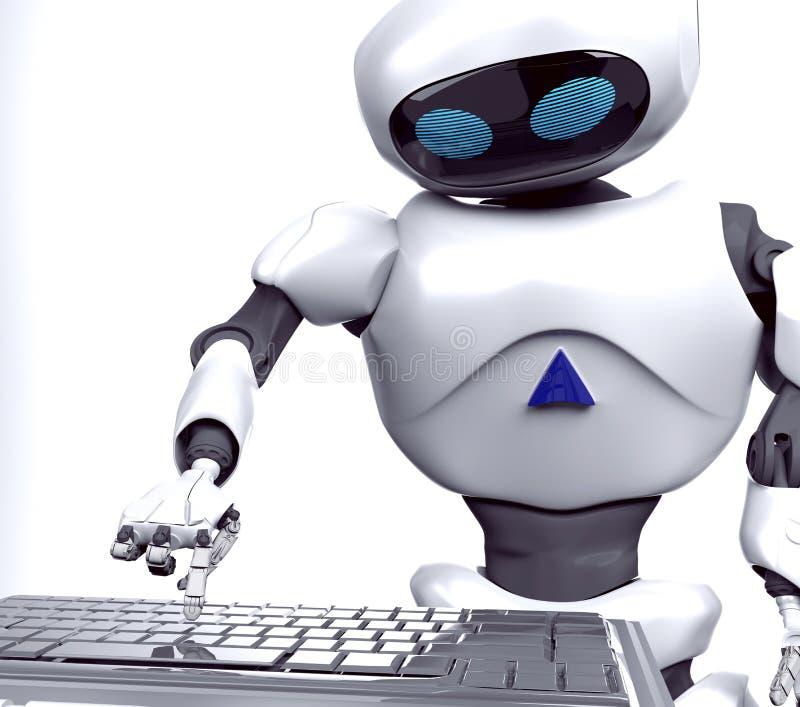 Geeft het robot vrouwelijke werk aangaande notitieboekje, 3d computer, terug vector illustratie