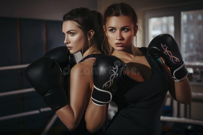 Geeignete dünne junge schöne Brunettefrauen, die in der Sportkleidung boxen DA stockfotos