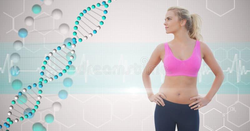 Geeignete junge Frau mit den Händen auf den Hüften, die DNA-Struktur betrachten stockbilder