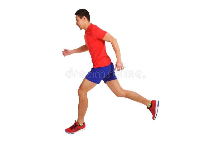 Geeigneter älterer asiatischer Mann, der laufendes Training tut lizenzfreies stockfoto
