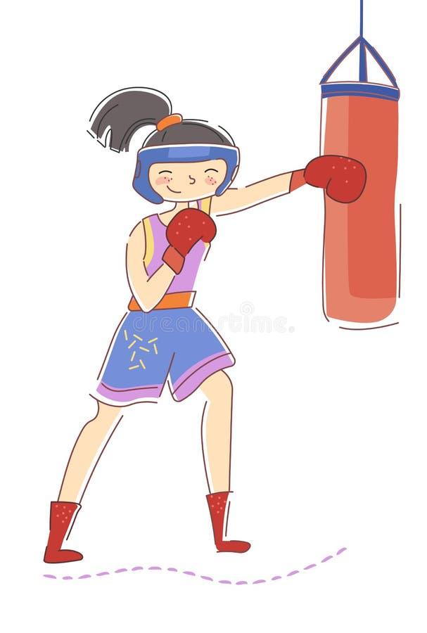 Geeigneter Boxer der jungen Frau, der eine Tasche in einer Turnhalle während des Trainings für einen Kampf in einem Gesundheits-, lizenzfreie abbildung