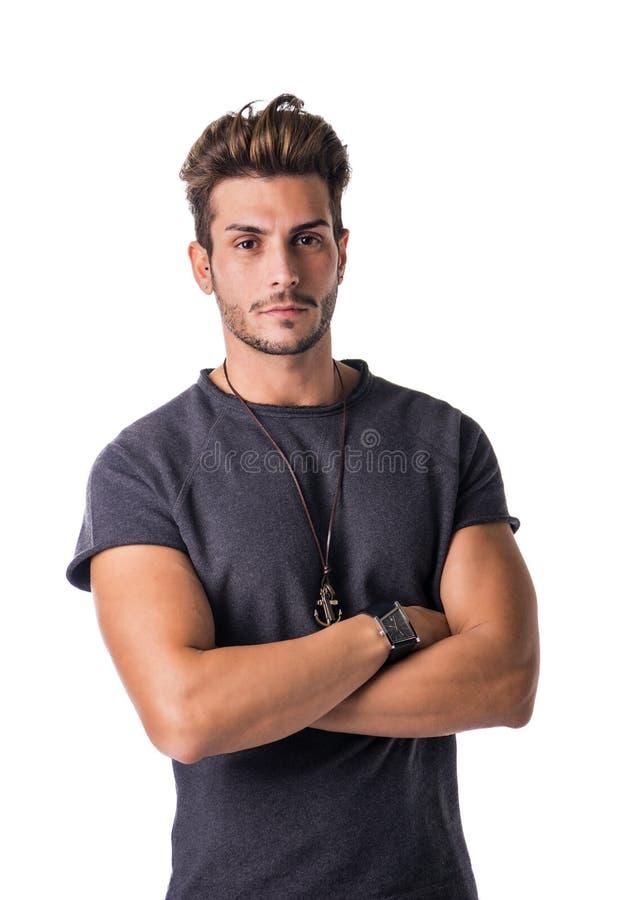 geeigneter h bscher junger mann berzeugt in der zuf lligen kleidung stockbild bild von nett