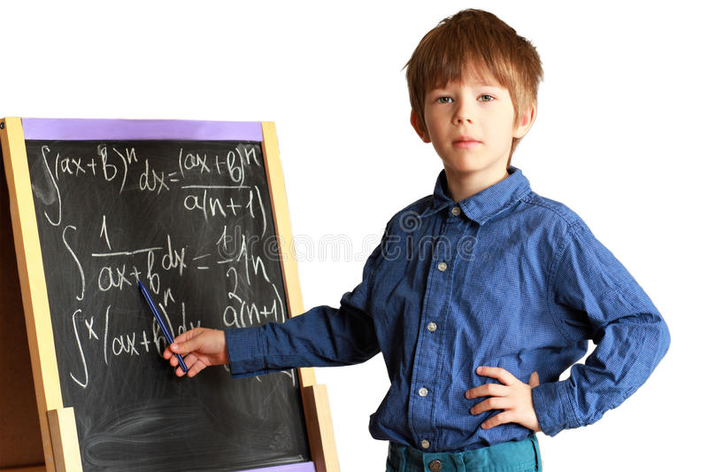 Geek boy explaining how to solve integral rational functions. Isolated on white background stock photo