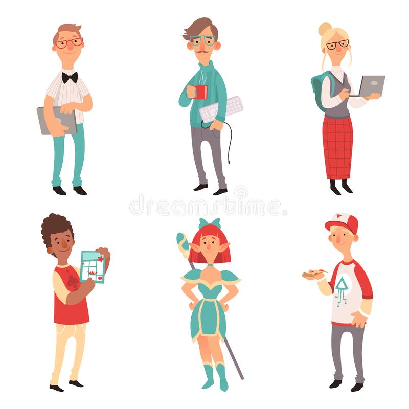 Geek characters. Girl and boys nerd computer technology lovers vector cartoon mascot royalty free illustration