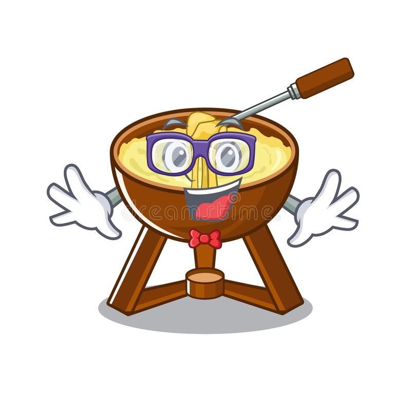 Geek cheese fondue with in mascot shape. Vector illustration vector illustration