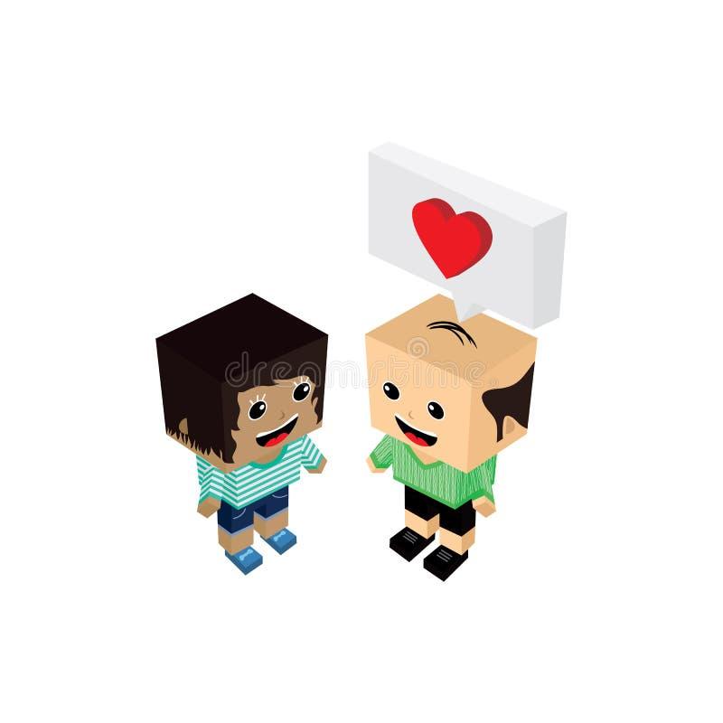 Geek couple lover in romance love. Couple lover in romance love theme art illustration royalty free illustration