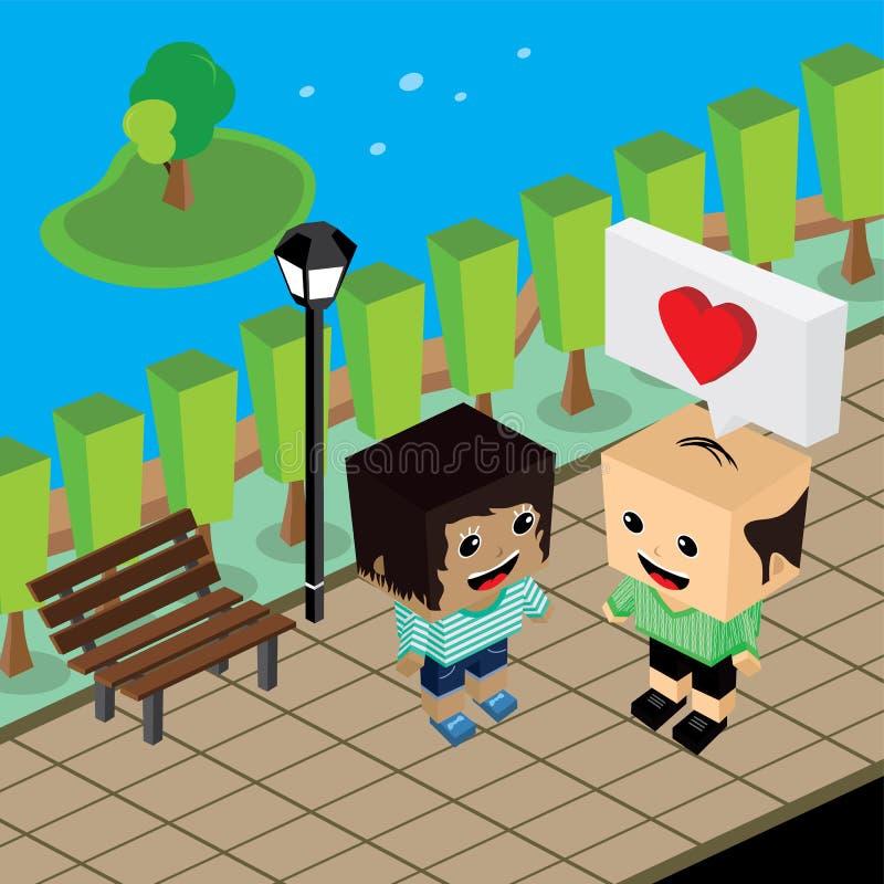 Geek couple lover in romance love. Couple lover in romance love theme art illustration stock illustration