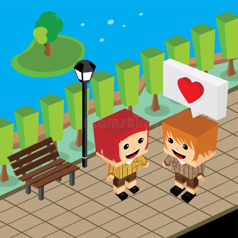 Geek couple lover in romance love. Couple lover in romance love theme art illustration vector illustration