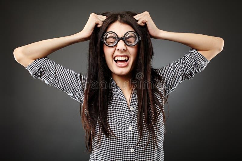 Geek della femmina del primo piano immagini stock libere da diritti