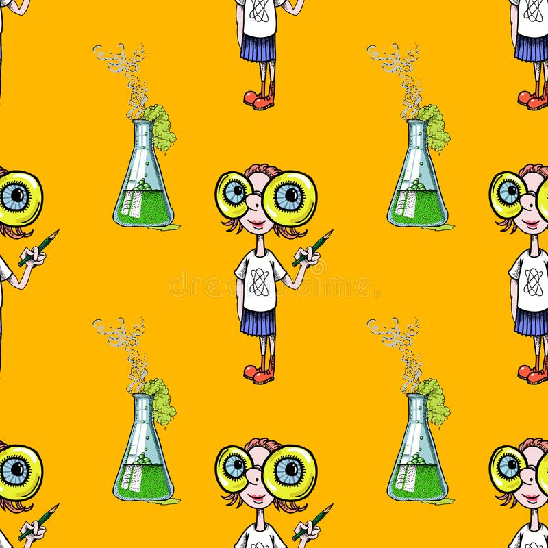 Geek girl and scientific experiment seamless pattern. Cartoon characters quirky background vector illustration