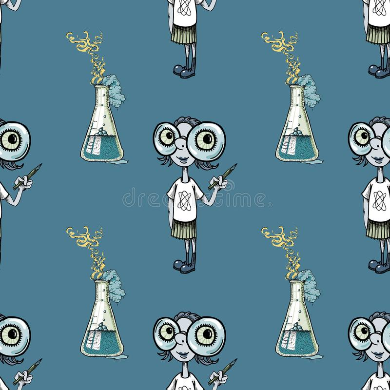 Geek girl and scientific experiment seamless pattern. Cartoon characters quirky background stock illustration