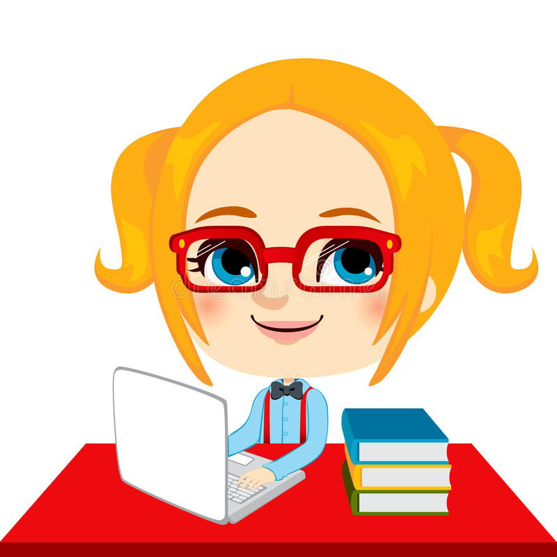 Download Geek Girl Student stock vector. Image of back, happy - 25978504