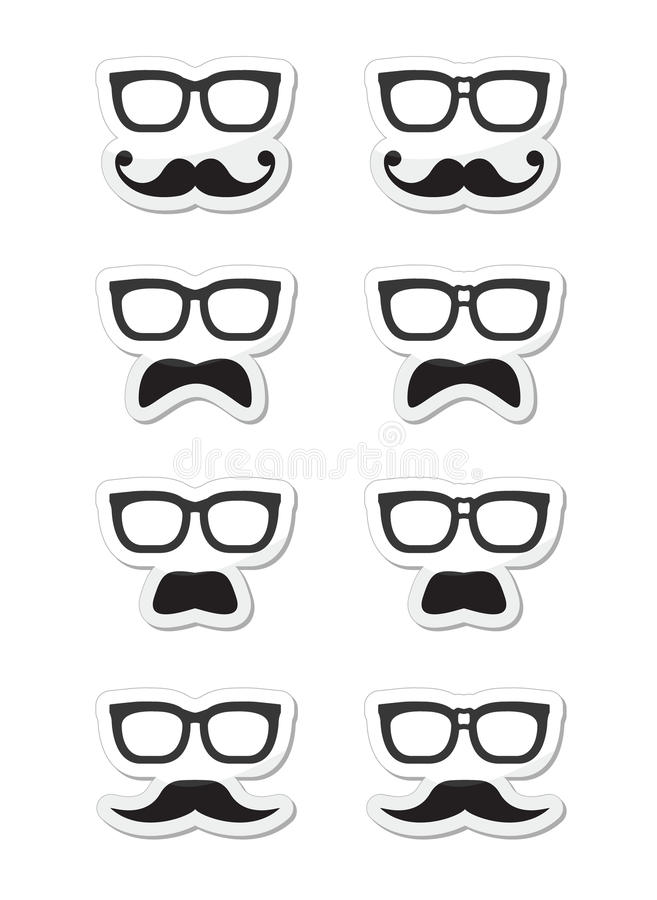 Free Geek Glasses And Moustache Or Mustache Labels Stock Photography - 28430202