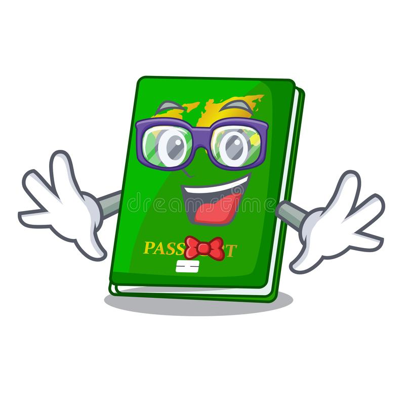 Geek green passport in the cartoon shape. Vector illustration stock illustration