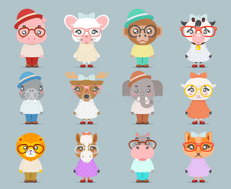 Geek hipster cute animal boy girl cubs mascot cartoon icons set flat design vector illustration. Geek hipster cute animal girl boy cubs mascot cartoon icons set stock illustration