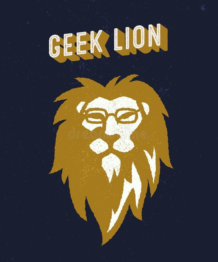 Geek lion t-shirt apparel design stock illustration