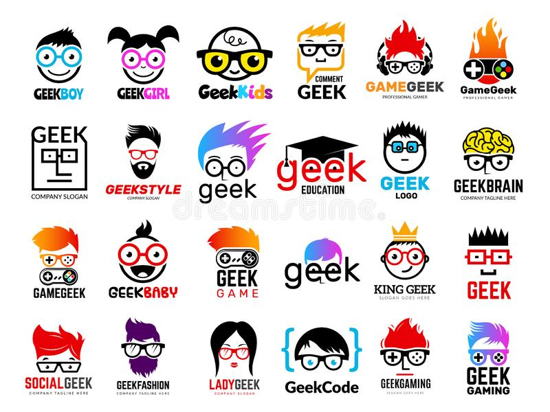 Geek logo. Business badges symbols of gamers nerd smart characters easy learning face with glasses vector collection vector illustration