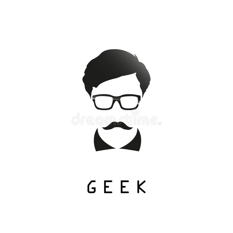 Geek logo design template with face in glasses. stock illustration