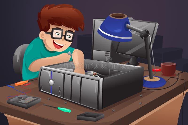 Geek som reparerar en dator stock illustrationer