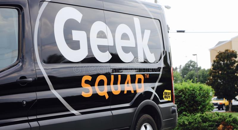 Geek Squad by Best Buy. Geek Squad is a subsidiary of American multinational consumer electronics corporation Best Buy, headquartered in Richfield, Minnesota royalty free stock images