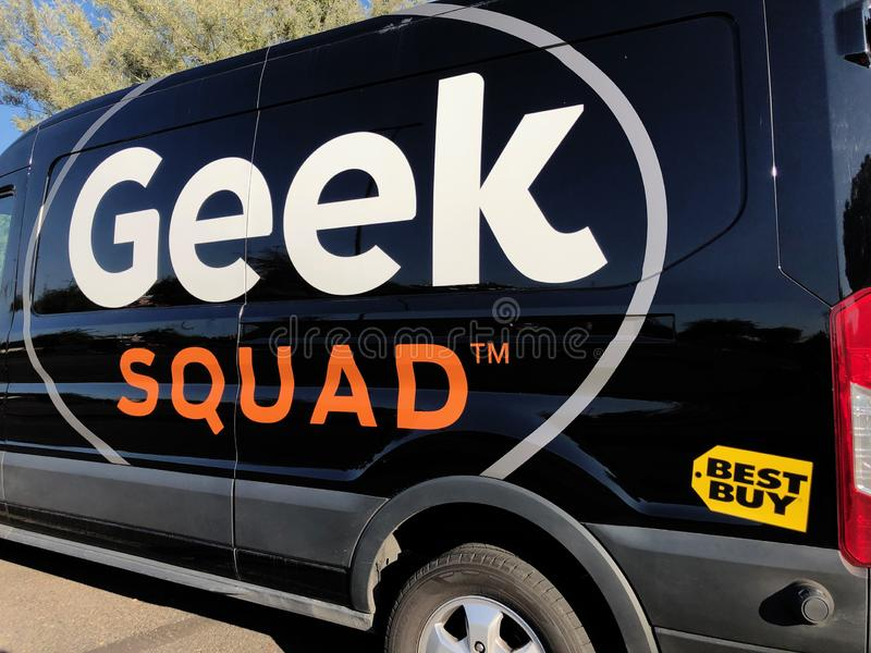 Geek Squad car. A Geek squad vehicle part of the fleet of Best Buy tech support. The Geek Squad provides all kind of repairs and software updates royalty free stock image
