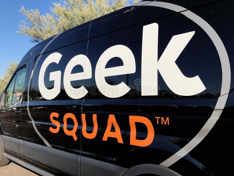 Geek Squad car. A Geek squad vehicle part of the fleet of Best Buy tech support. The Geek Squad provides all kind of repairs and software updates royalty free stock images