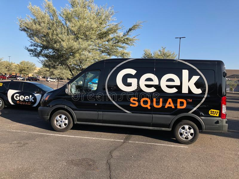 Geek Squad car. A Geek squad vehicle part of the fleet of Best Buy tech support. The Geek Squad provides all kind of repairs and software updates royalty free stock photo