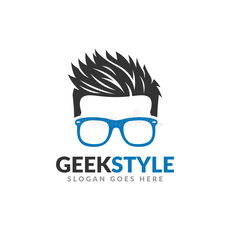 Geek style logo design template, man head with glasses and cool hair stock illustration