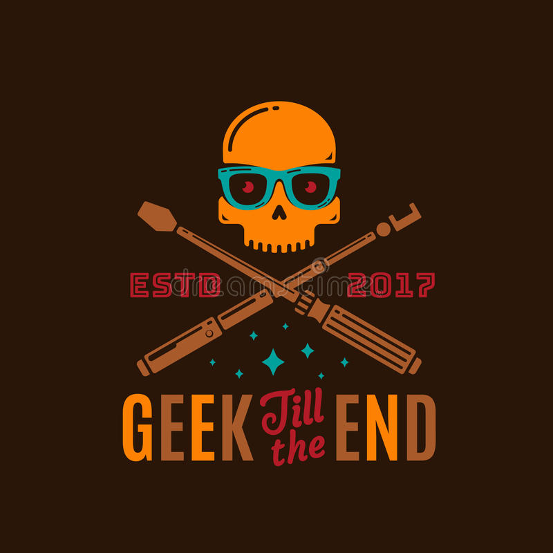 Geek Till The End Abstract Vector Emblem, Sign or Logo Template. Funny Skull Face in Glasses with Crossed Monopod and stock illustration