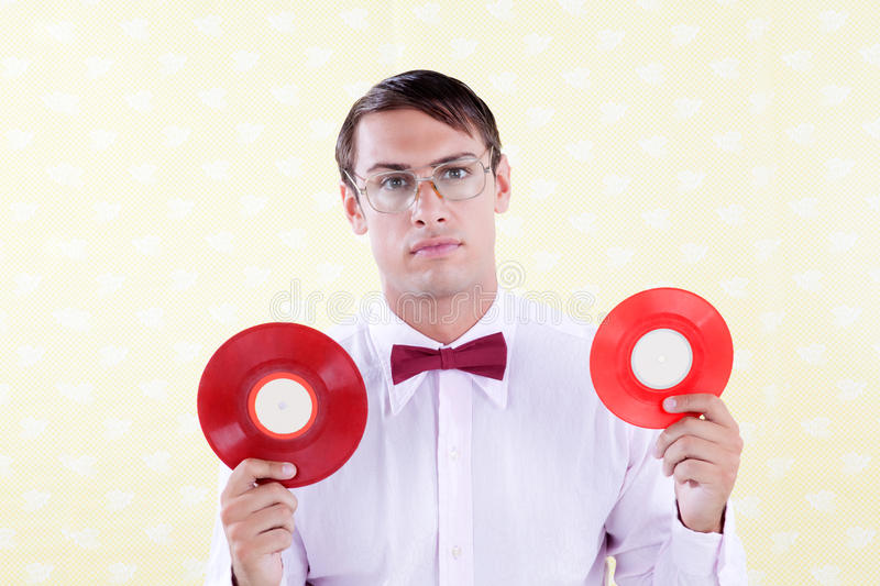 Geek with Vinyl Record royalty free stock photography