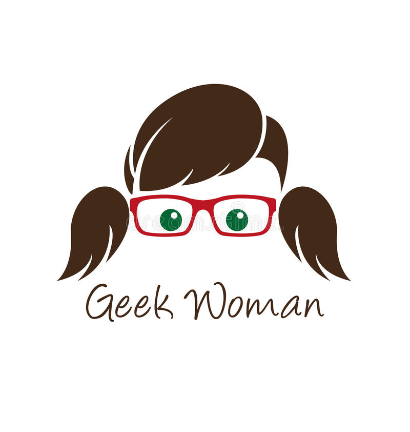 Geek woman vector illustration