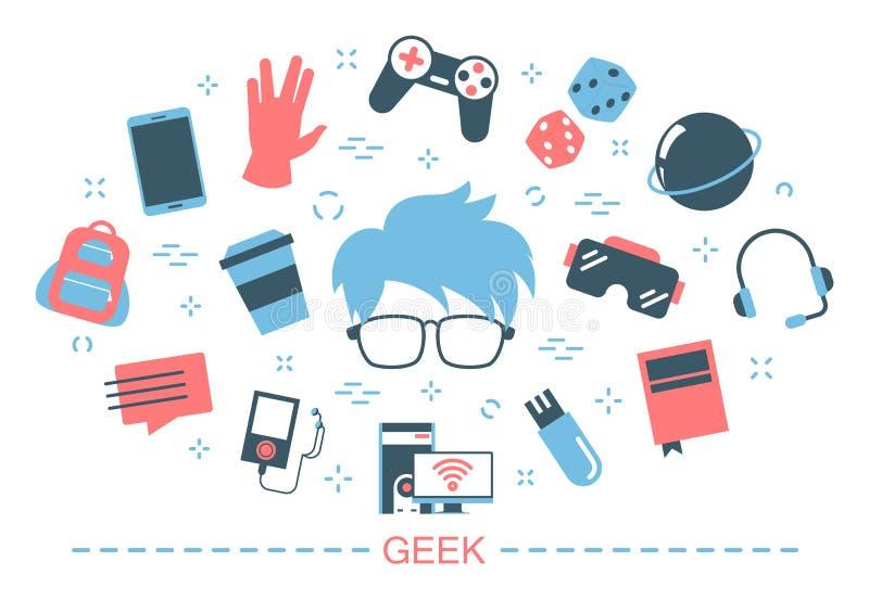 Geekbegrepp Idé av den nerdteckenet och dataspelen stock illustrationer