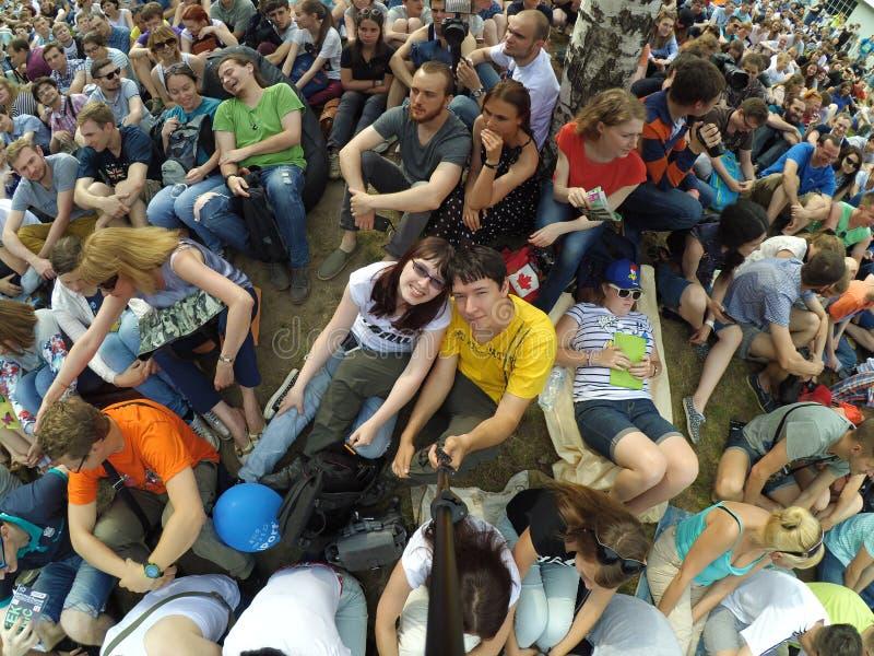 Geekpicknick 26 06 2016 Är den största europeiska festivalen av modern teknologi, vetenskap och konst petersburg saint arkivfoton