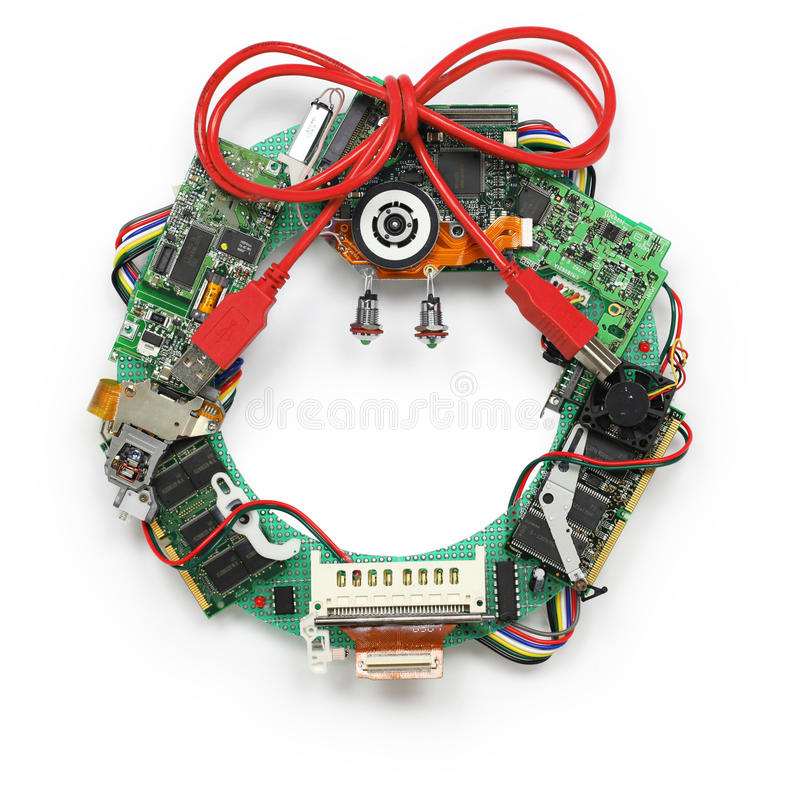 Download Geeky Christmas Wreath Made By Old Computer Parts Stock Photo - Image of parts, printed: 48039282