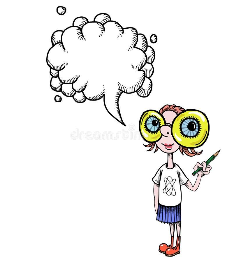 Geeky girl-100 vector illustration