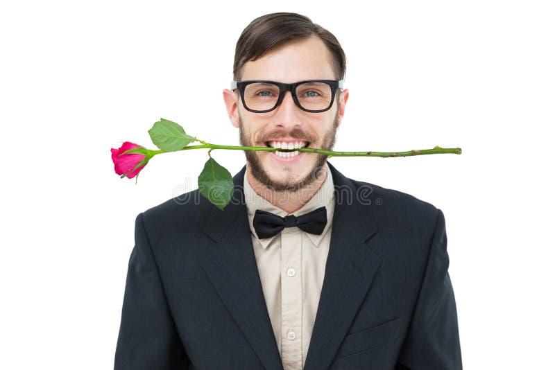 Geeky modnisia mienie wzrastał między zębami zdjęcie stock