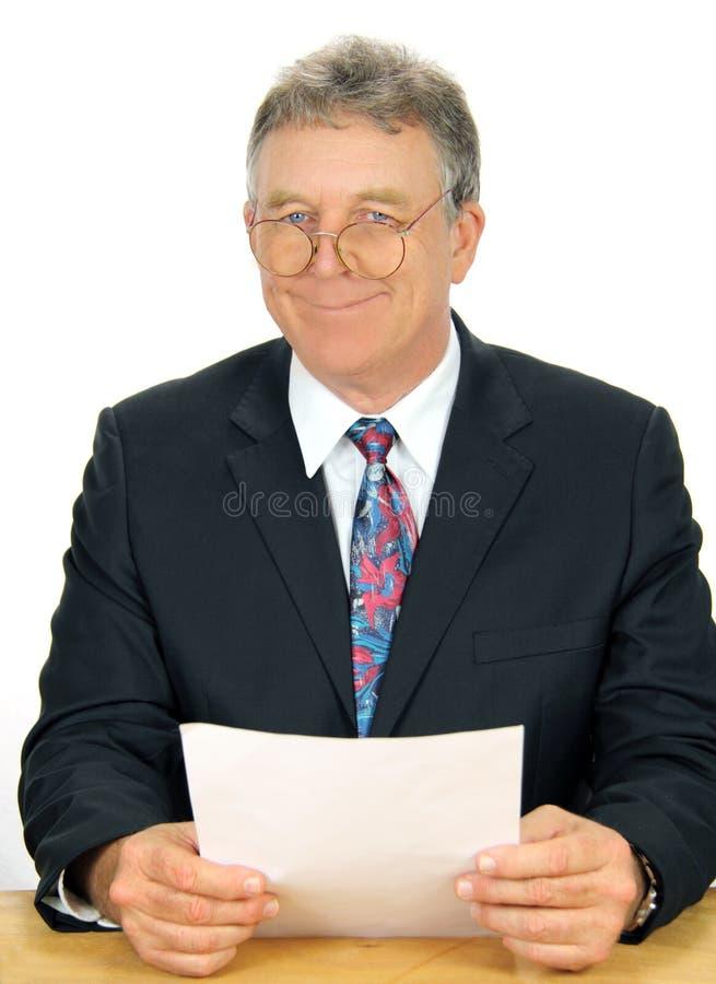 Geeky Unternehmensleiter lizenzfreie stockfotos