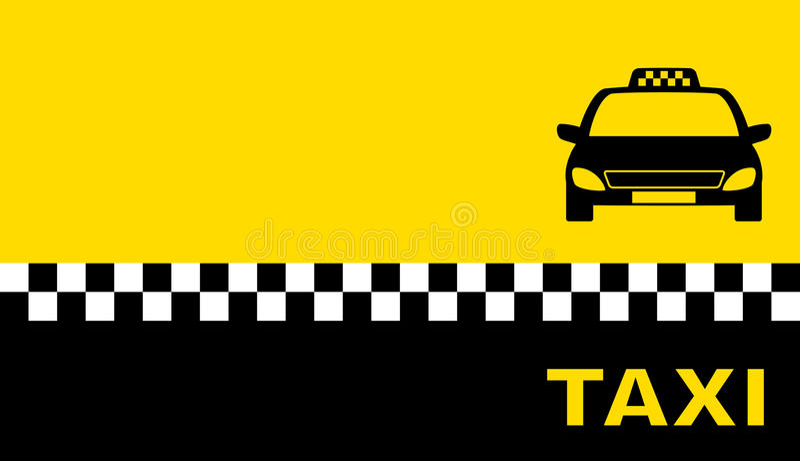 Geel adreskaartje met taxiauto vector illustratie