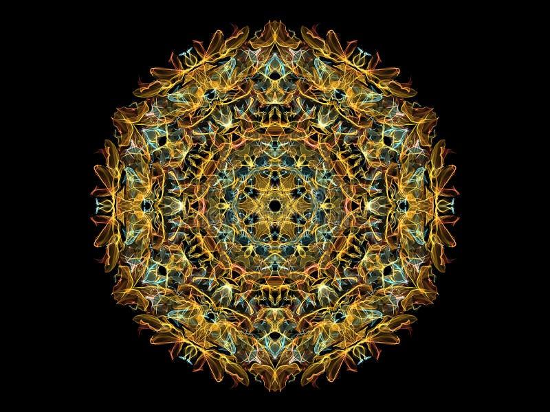 Geel, blauw en oranje, abstracte vlam mandala bloem, ornamental floral ronde patroon op zwarte achtergrond. thema Yoga royalty-vrije illustratie