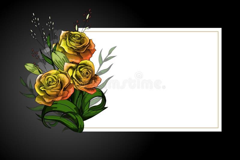 Geel bloemboeket op wit kader met het zwarte malplaatje van de grens strikte prentbriefkaar stock illustratie